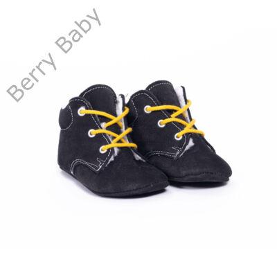 19-es Berry Baby puha talpú Nubuk bőr kocsicipő: Fekete-citromsárga fűzős