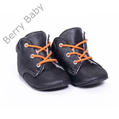 19-es Berry Baby puha talpú Nubuk bőr kocsicipő: Fekete-narancssárga fűzős