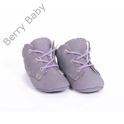 19-es Berry Baby puha talpú bőr kocsicipő: Szürke-lila fűzős