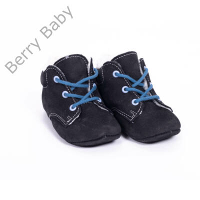 18-as Berry Baby puha talpú Nubuk bőr kocsicipő: Fekete-kék fűzős