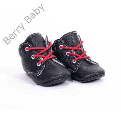 19-es Berry Baby puha talpú bőr kocsicipő: Fekete-piros fűzős