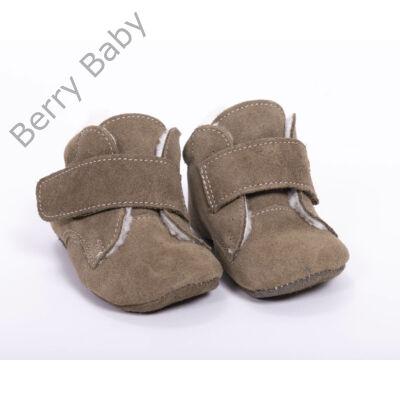 19-es Berry Baby puha talpú velúr bőr kocsicipő: Khaki-tépőzáras