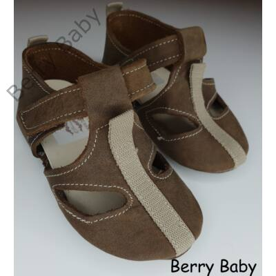 16-os:  Berry Baby Barna díszcsíkos puha talpú bőr kocsicipő, szobacipő