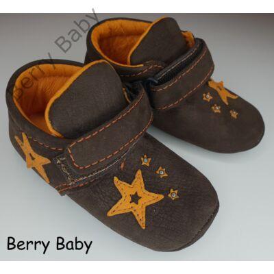 20-as: Berry Baby Barna csillagos puha talpú bőr kocsicipő, szobacipő