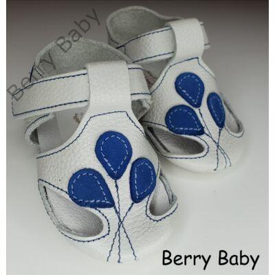 17-es: Berry Baby  Fehér-kék lufis puha talpú bőr kocsicipő, szobacipő