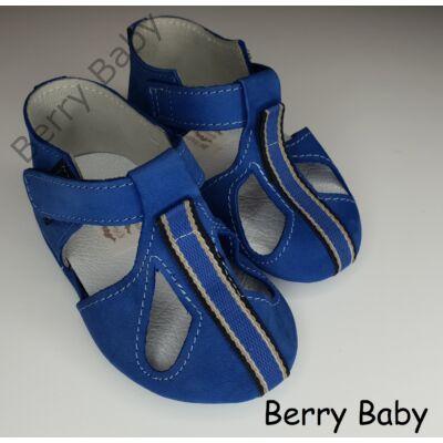 17-es: Berry Baby Kék, díszcsíkos puha talpú bőr kocsicipő, szobacipő