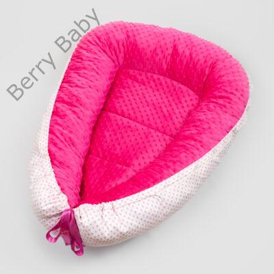 Pink minky-rózsaszín szíves babafészek