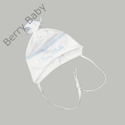 Pamut újszülött sapka megkötővel: Fehér- kék -50
