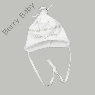 Pamut újszülött sapka megkötővel: Fehér- szürke -50