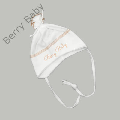 Pamut újszülött sapka megkötővel: Fehér- beige -56