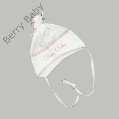 Pamut újszülött sapka megkötővel: Fehér- beige -50