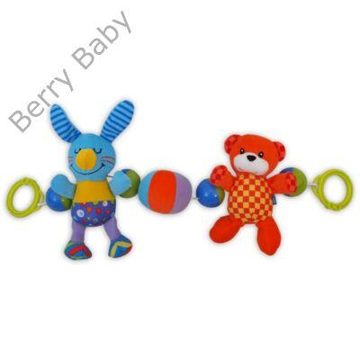 Baby Mix Babakocsira szerelhető lánc: nyuszis-macis