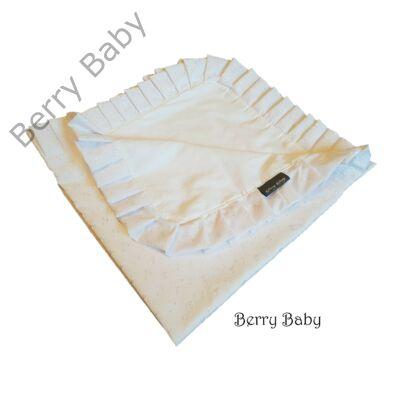Vékony keresztelő takaró fodros  -fehér madeirás -kispárnával is kérhető-