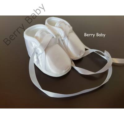 Hófehér szatén keresztelő (kisfiú) puhatalpú cipő- 1. méret