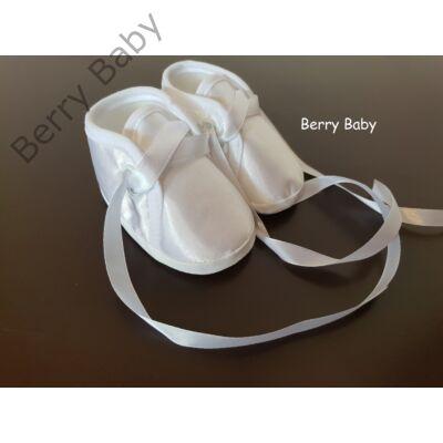 Hófehér szatén keresztelő (kisfiú) puhatalpú cipő- 2. méret