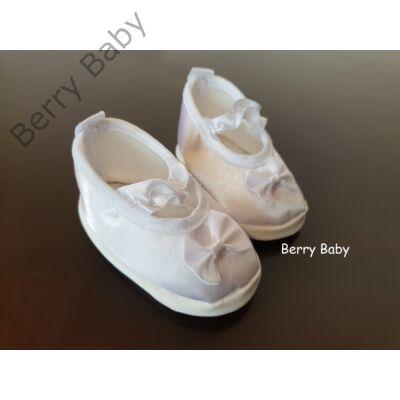 6-12 hónapos: Hófehér szatén keresztelő (kislány) puhatalpú kiscipő- Berry Baby