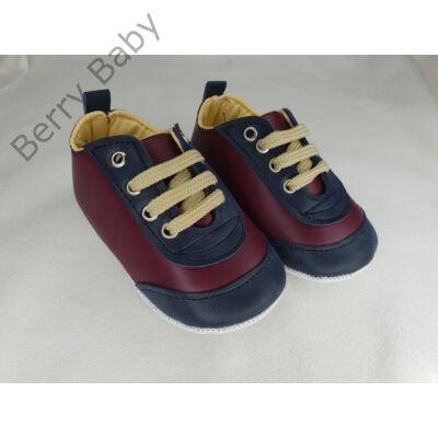 19-es: Bordó-kék puhatalpú kiscipő -import termék-