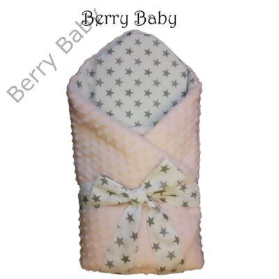 Kókusz pólya kivehető gerinctámasszal  selymes rózsaszín Minky- fehér  alapon szürke csillagos 696f1609b8