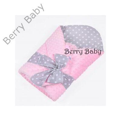 Kókusz pólya kivehető gerinctámasszal  selymes rózsaszín Minky- szürke  pöttyös belsővel 221abdc481
