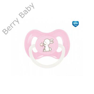 """Szilikon, szimmetrikus nyugtató cumi """"Little Cutie"""" (18 hó+) Rózsaszín nyuszi"""