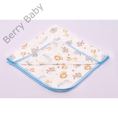 Kék szafaris nyári hurkolt pamut babapléd
