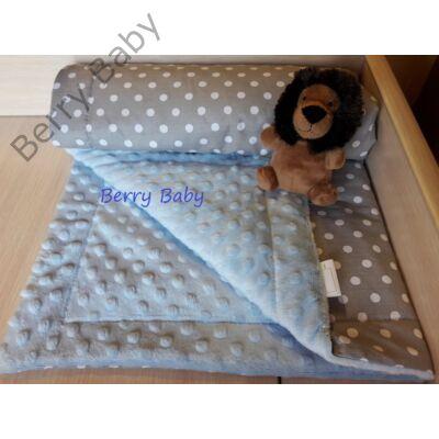 Kétoldalú babatakaró  szürke pöttyös-kék buborékos minky - Kétoldalú ... 7b374a2496