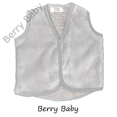 Szürke- báránybőr szerű belső oldallal- Berry Baby mellény 0-6 hó