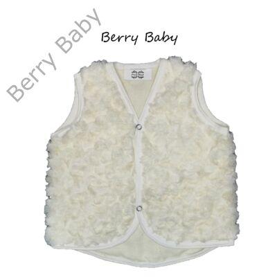 Rózsa alakban szőrös Berry Baby mellény 6-12 hó- ekrü
