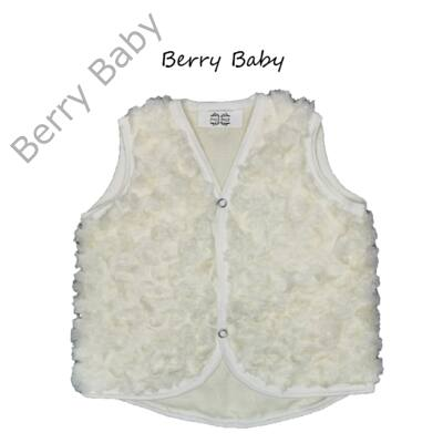 Rózsa alakban szőrös Berry Baby mellény 0-6 hó- ekrü
