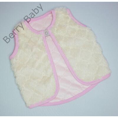 Kívül szőrös Berry Baby mellény 0-6 hó- rózsaszín