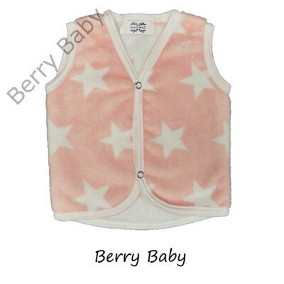 Berry Baby wellsoft mellény - Barackvirág alapon fehér csillagos 0-6 hó