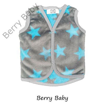 Berry Baby wellsoft mellény - Szürke alapon türkiz csillagos 6-12 hós