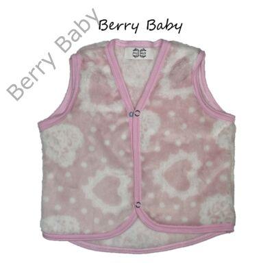 Berry Baby wellsoft mellény - púder szíves 0-6 hó