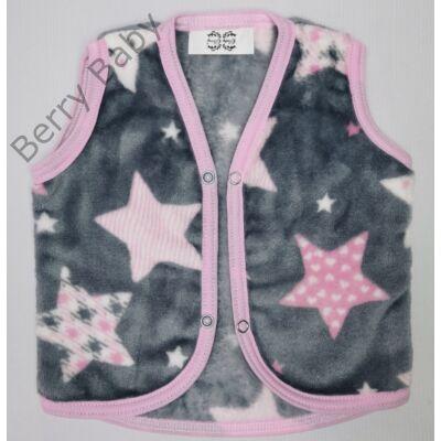 Berry Baby wellsoft mellény - Szürke alapon rózsaszín csillagos 0-6 hó