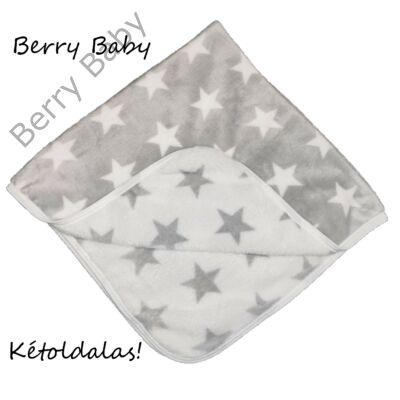 Berry Baby Wellsoft babapléd: szürke csillagos KÉTOLDALAS