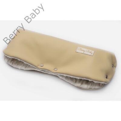 Babakocsira rögzíthető Berry Baby kesztyű- Ekrü ECO bőr- krém minky belsővel (univerzális)