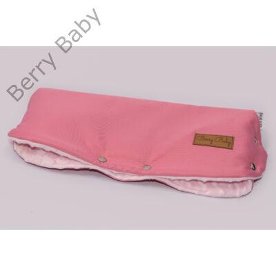 Babakocsira rögzíthető Berry Baby kesztyű: rózsaszín-rózsaszín minky belsővel (univerzális)