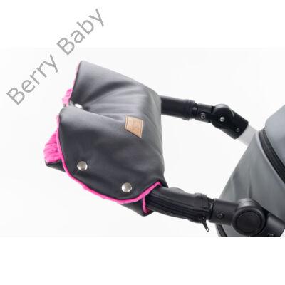Babakocsira rögzíthető Berry Baby kesztyű: fekete ECO bőr-pink minky belsővel (univerzális)