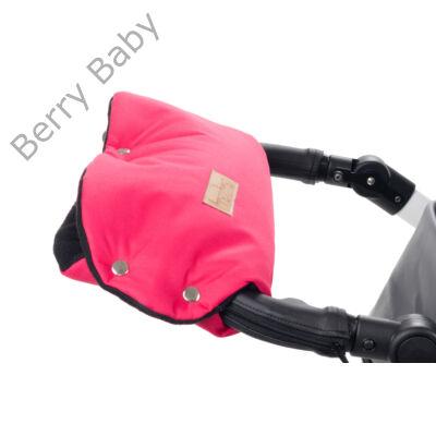 Babakocsira rögzíthető Berry Baby kesztyű: pink-fekete polár belsővel (univerzális)