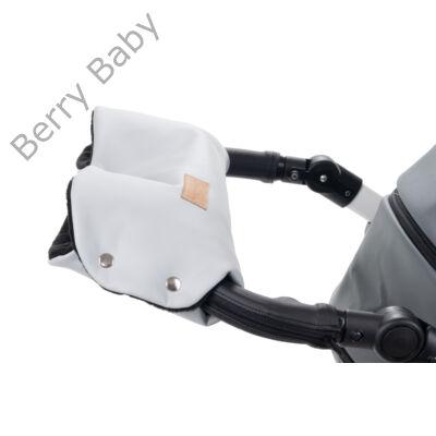Babakocsira rögzíthető Berry Baby kesztyű: szürke ECO bőr-fekete polár belsővel  (univerzális)