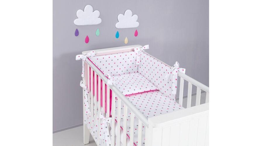 3 részes ágynemű szett (bővíthető)   szürke-pink csillagos+pink -  Lányoknak- babaágynemű szett 3a7c4af1c4