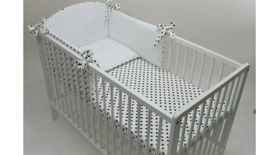 Selymes fehér minky+fekete pöttyös babaágynemű szett (BŐVÍTHETŐ) - Minky babaágynemű  szettek (60-as és 70-es kiságyakba is) bb0f9c360e