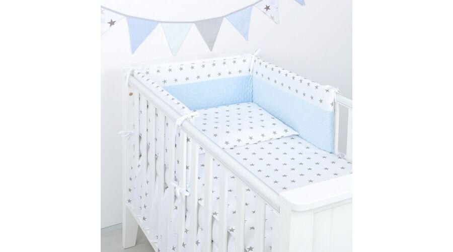 Selymes kék színű minky+fehér csillagos babaágynemű szett (BŐVÍTHETŐ) -  Minky babaágynemű szettek (60-as és 70-es kiságyakba is) fadd976e0b