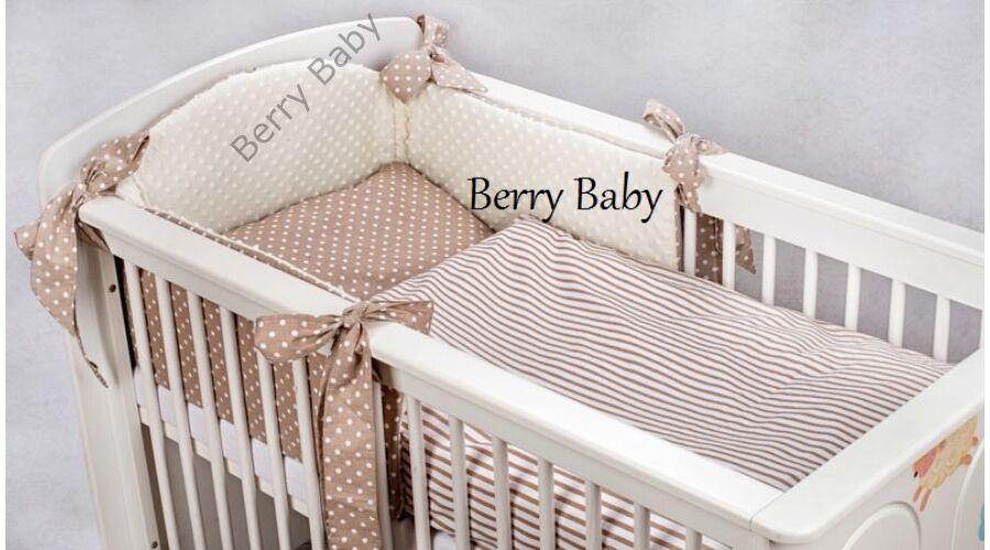Selymes ekrü színű minky+barna csíkos pöttyös babaágynemű szett (BŐVÍTHETŐ) 7a7c210e1e
