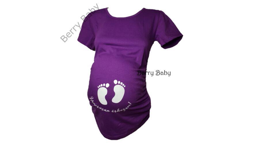 594643a278 Rövid ujjú kismama póló: S/M Lila +választható LÁB LENYOMAT ÉS FELIRAT