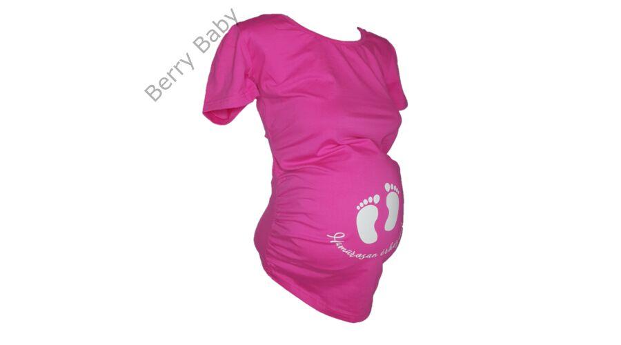 b48e1f6e0a Rövid ujjú kismama póló: L/XL pink +választható LÁB LENYOMAT ÉS FELIRAT · A  minta felárért választható a pólóra.